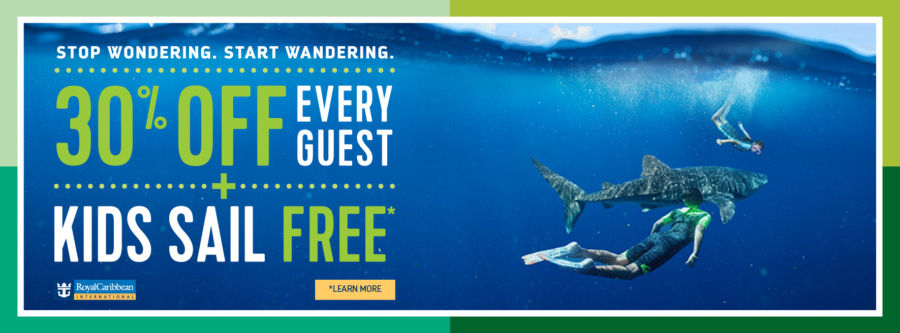 Stop Wondering. Star Wandering. 30% off Every Guest PLUS Kids Sail Free. Royal Caribbean. Click to learn more.